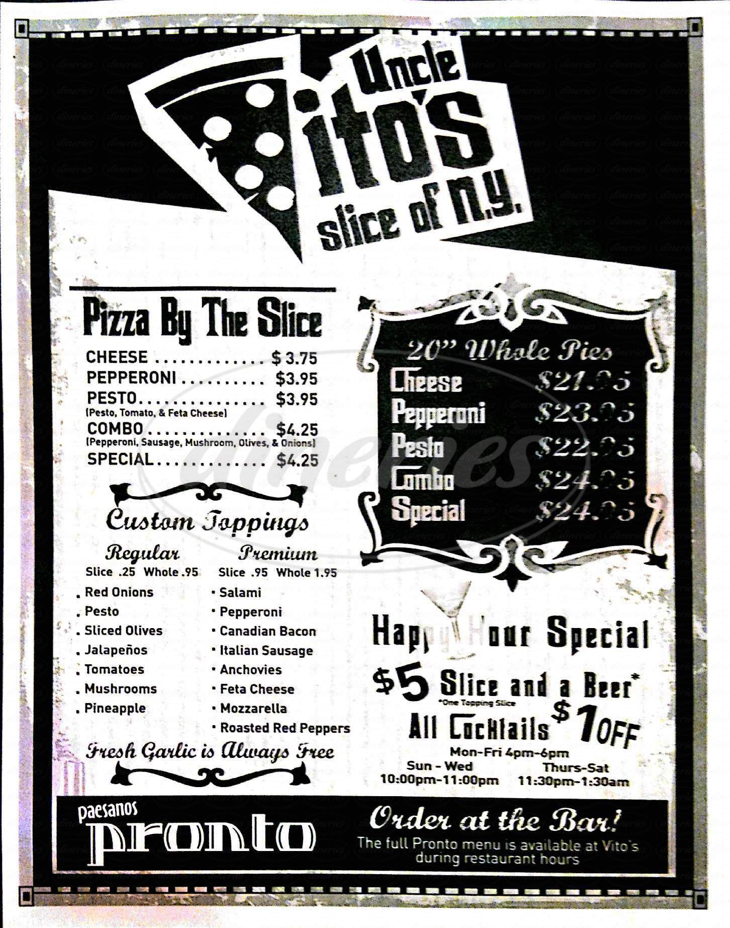 menu for Uncle Vito's Slice of NY