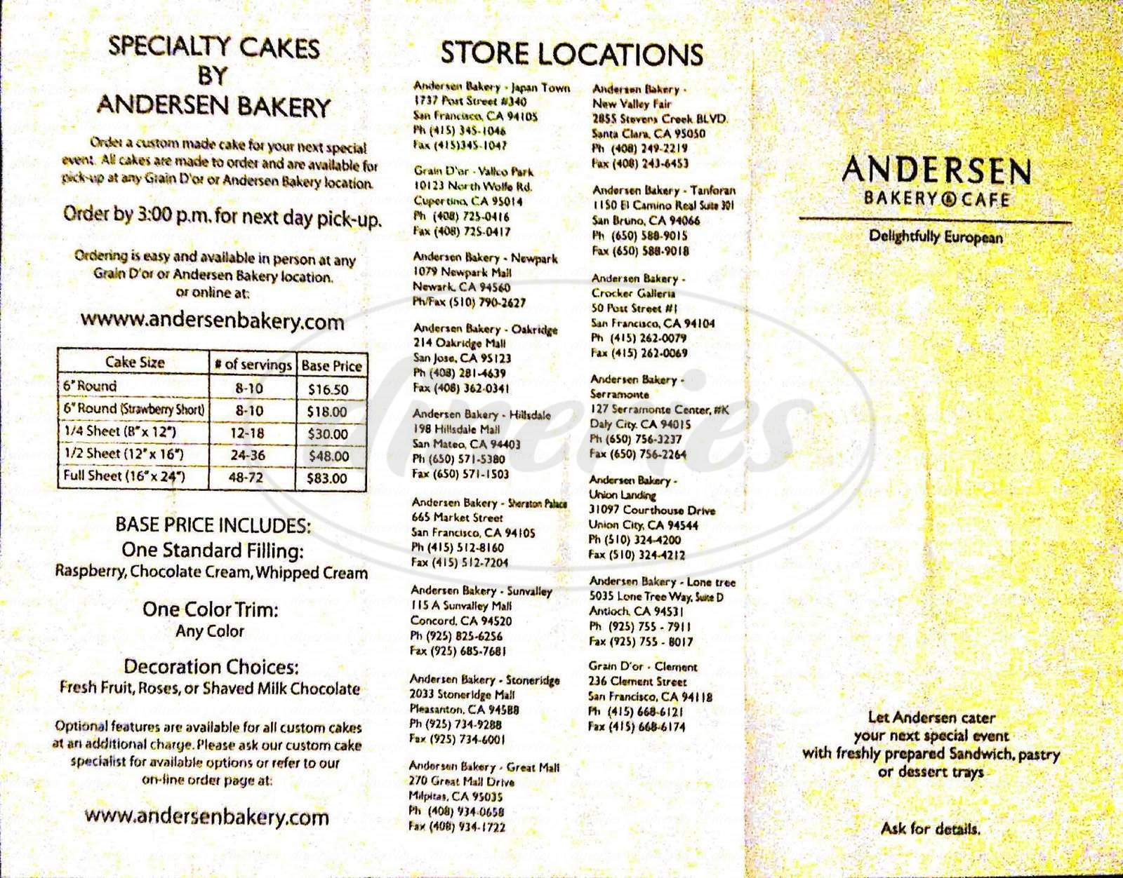 menu for Andersen Bakery