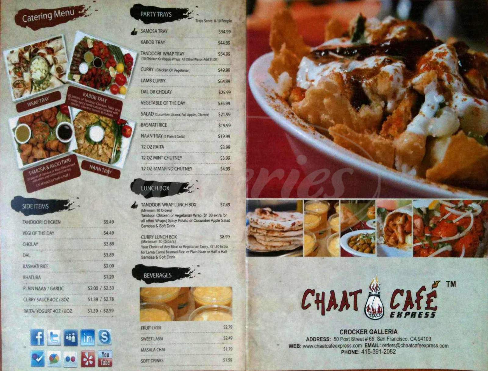 menu for Chaat Cafe Express
