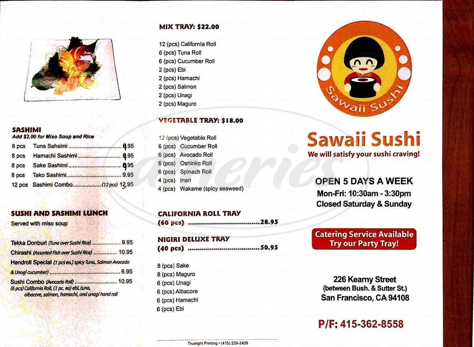 menu for Sawaii Sushi