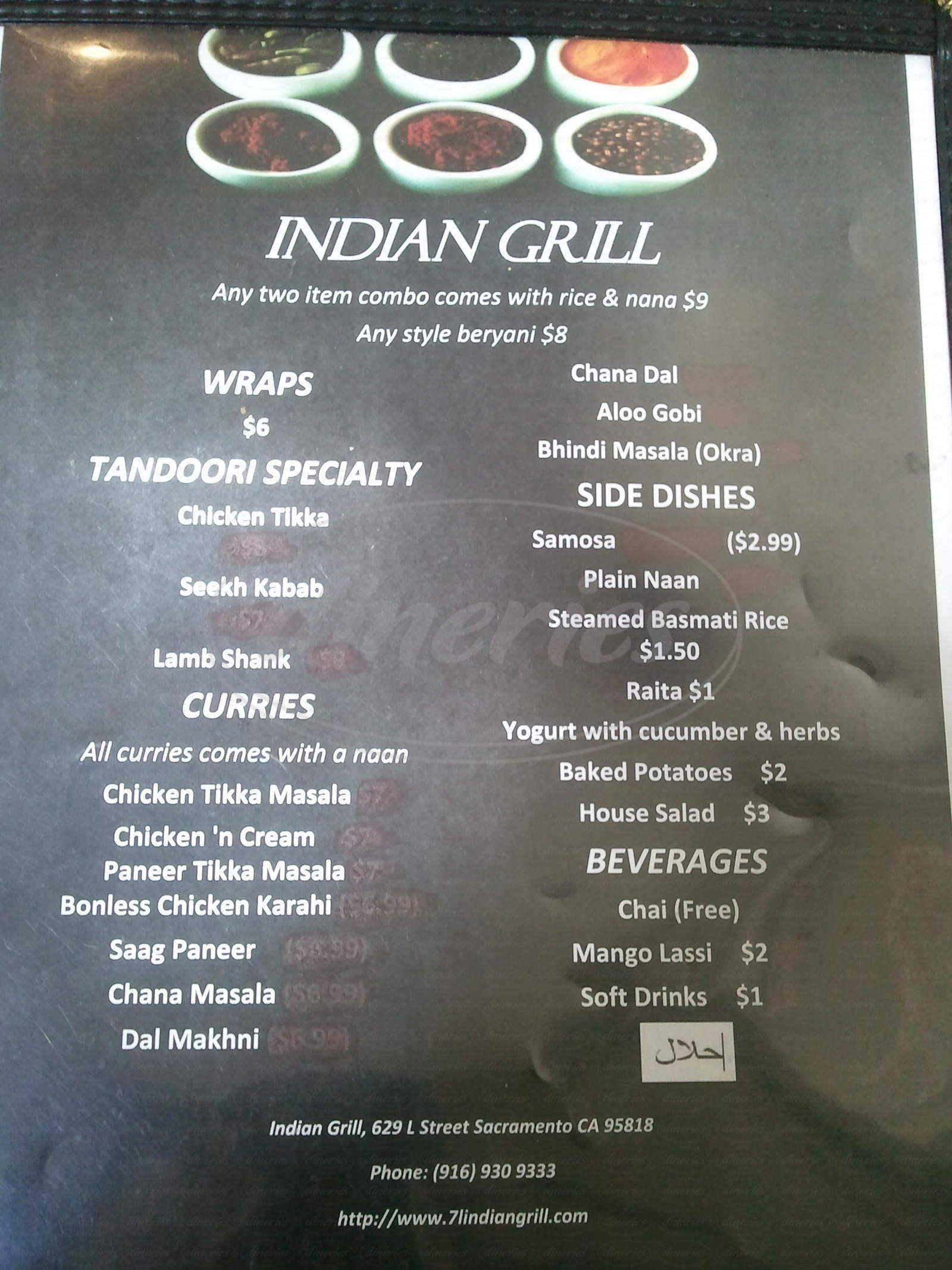 menu for Indian Grill