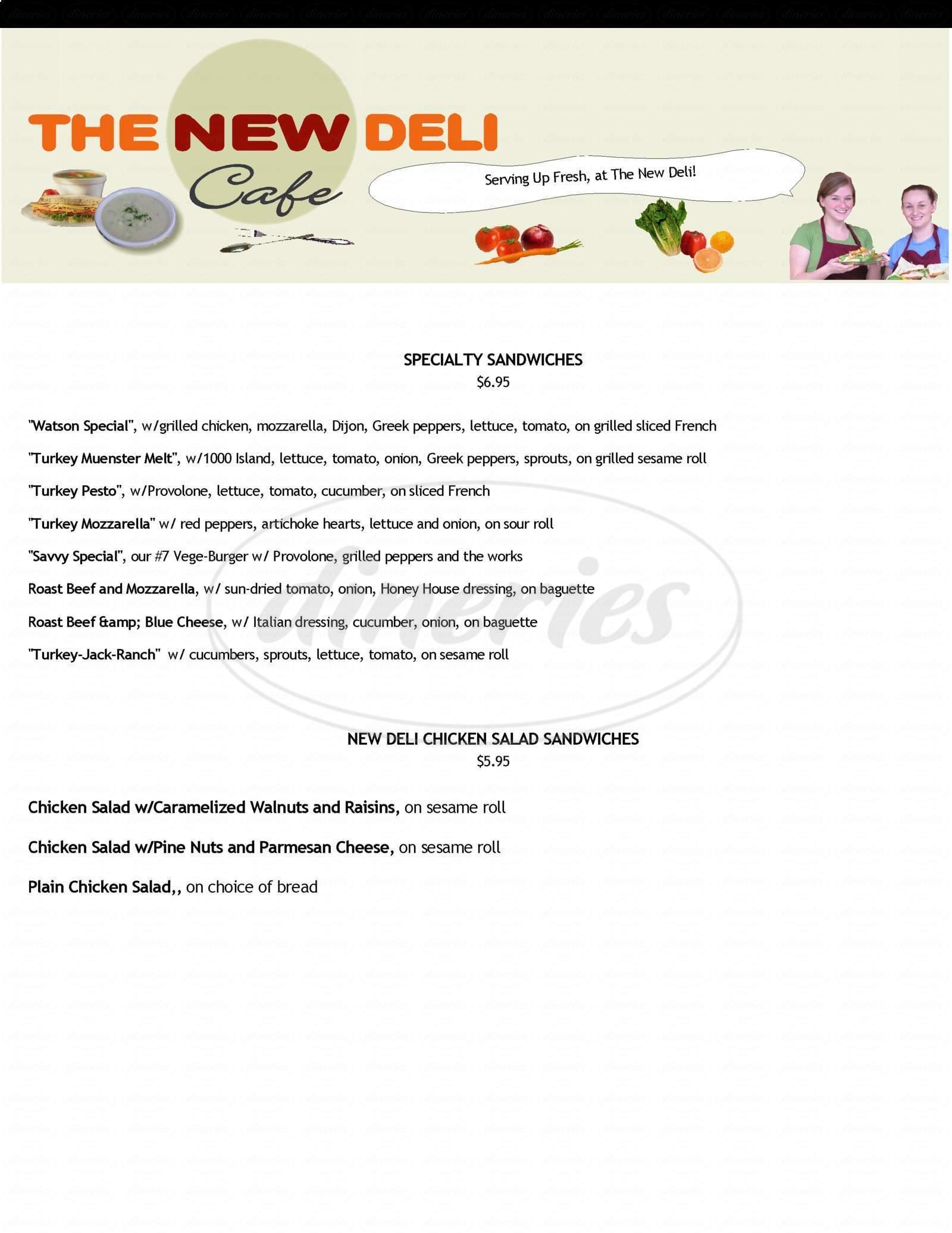 menu for The New Deli