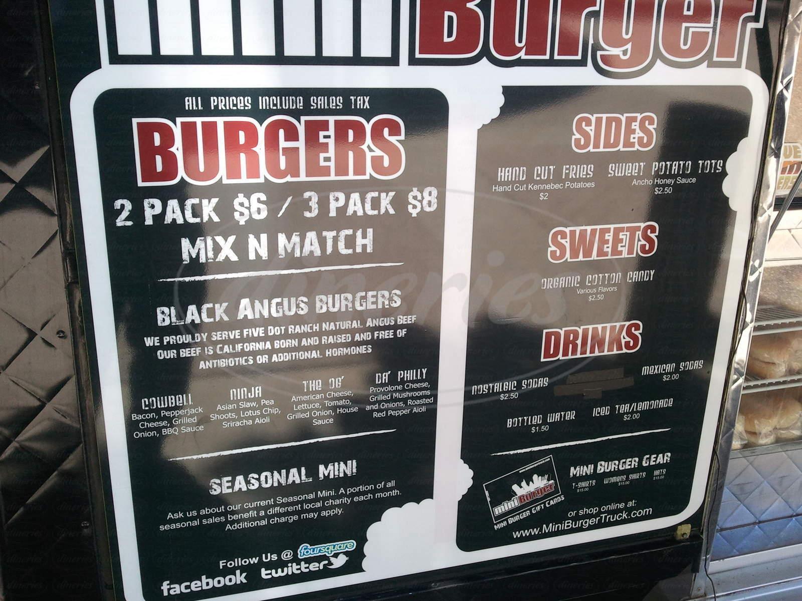menu for Mini Burger Truck