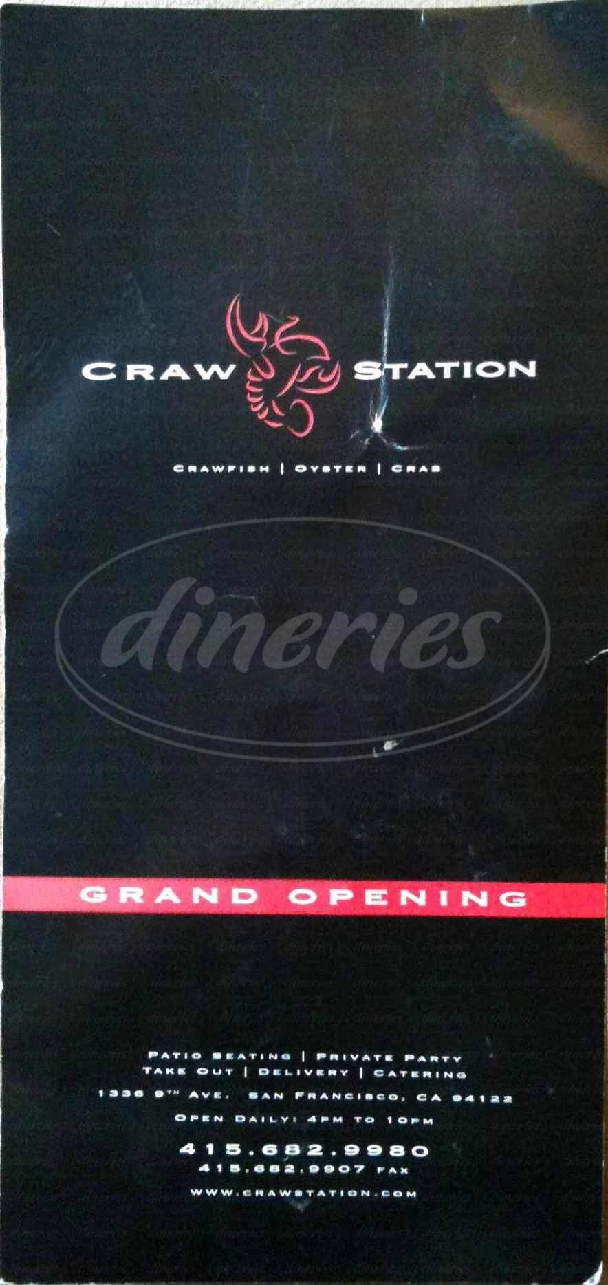 menu for Craw Station