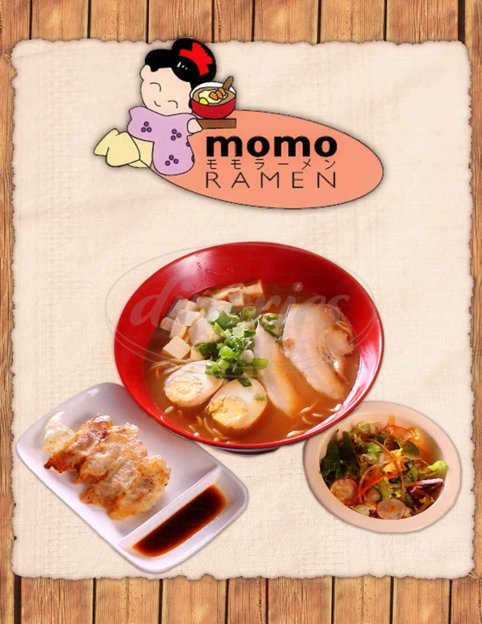 menu for Momo's Japanese Restaurant