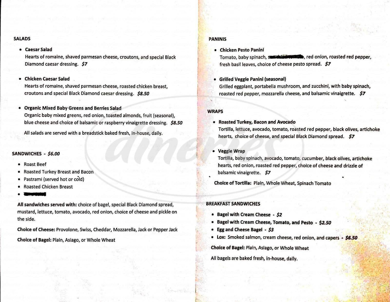 menu for Black Diamond Cafe