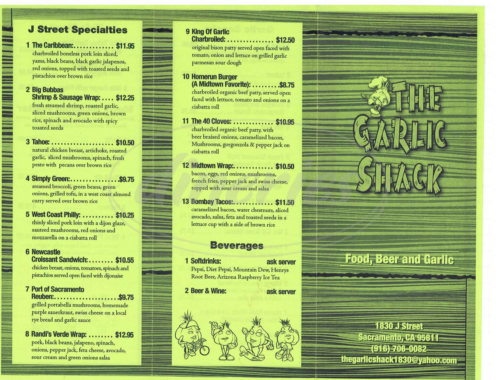 menu for Garlic Shack