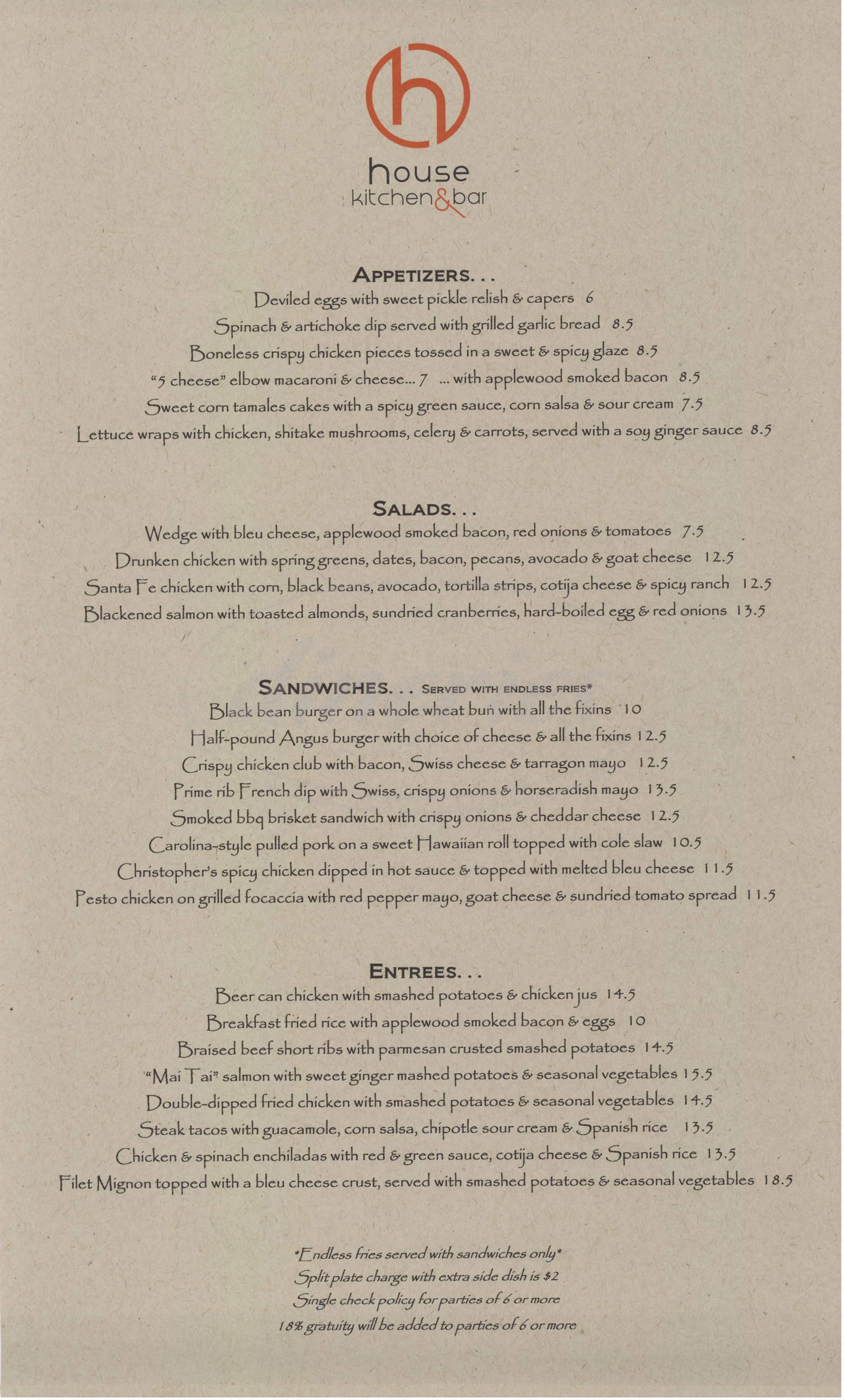 menu for House Kitchen & Bar