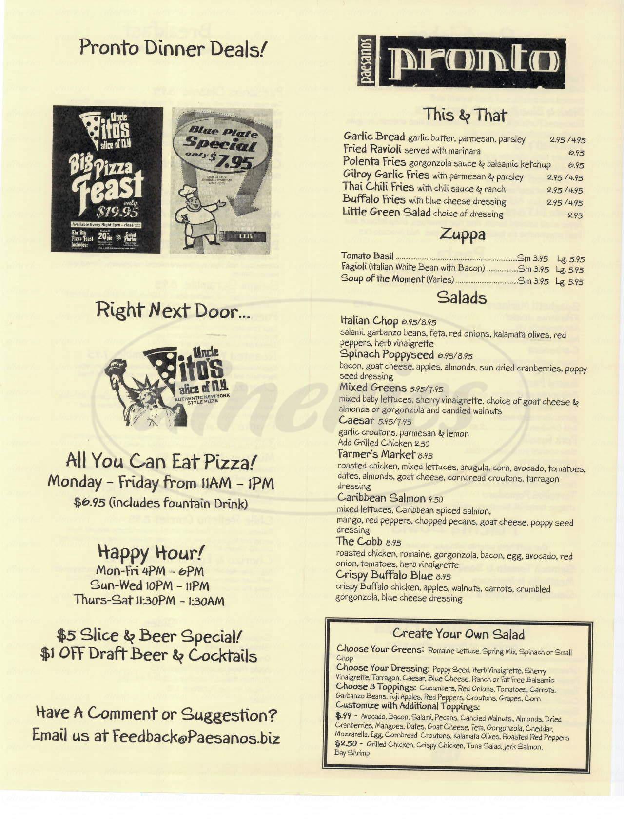 menu for Pronto