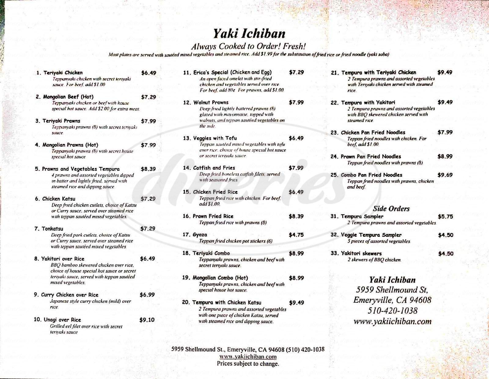 menu for Yaki Ichiban
