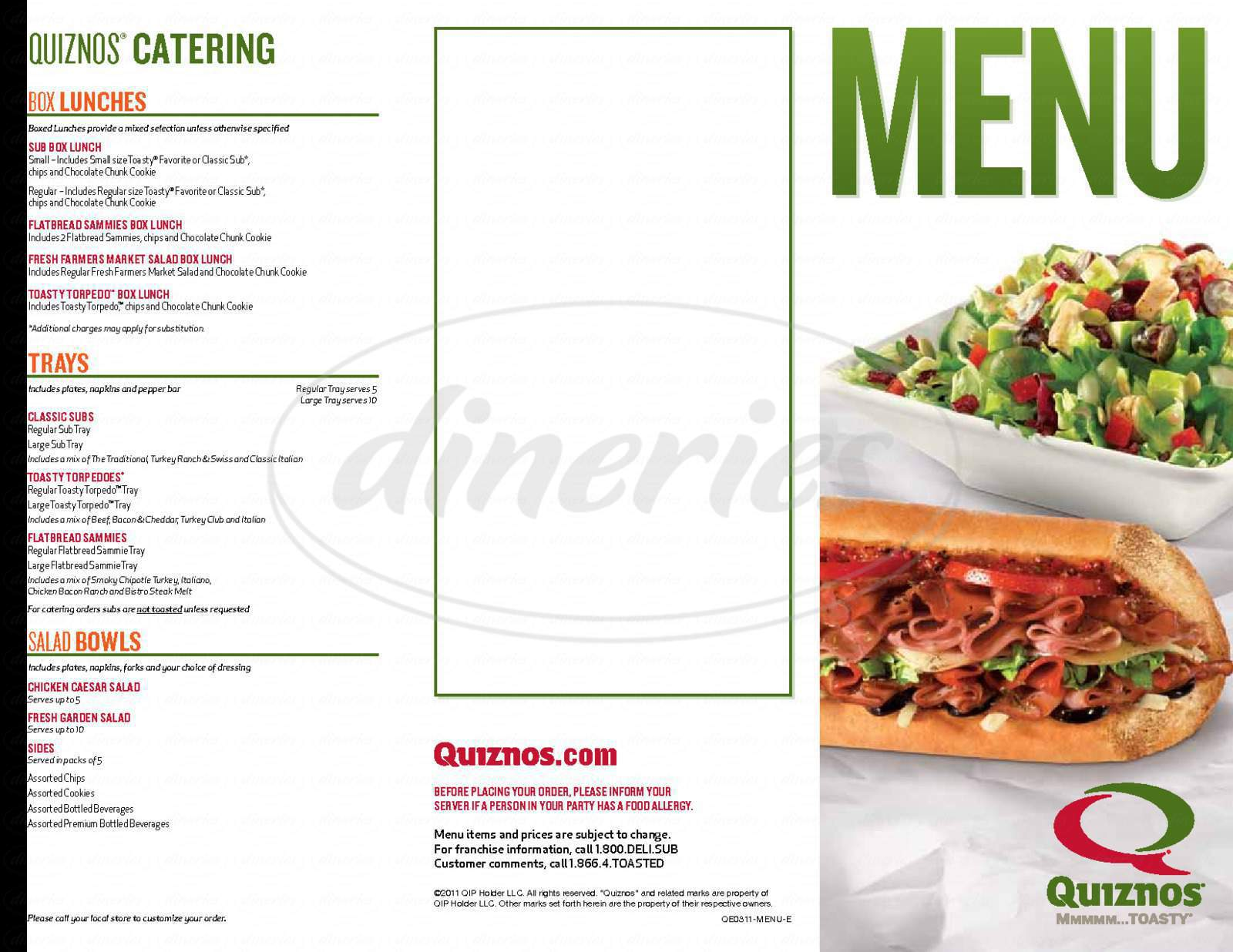 Big menu for Quizno's Classic Subs, Stockton