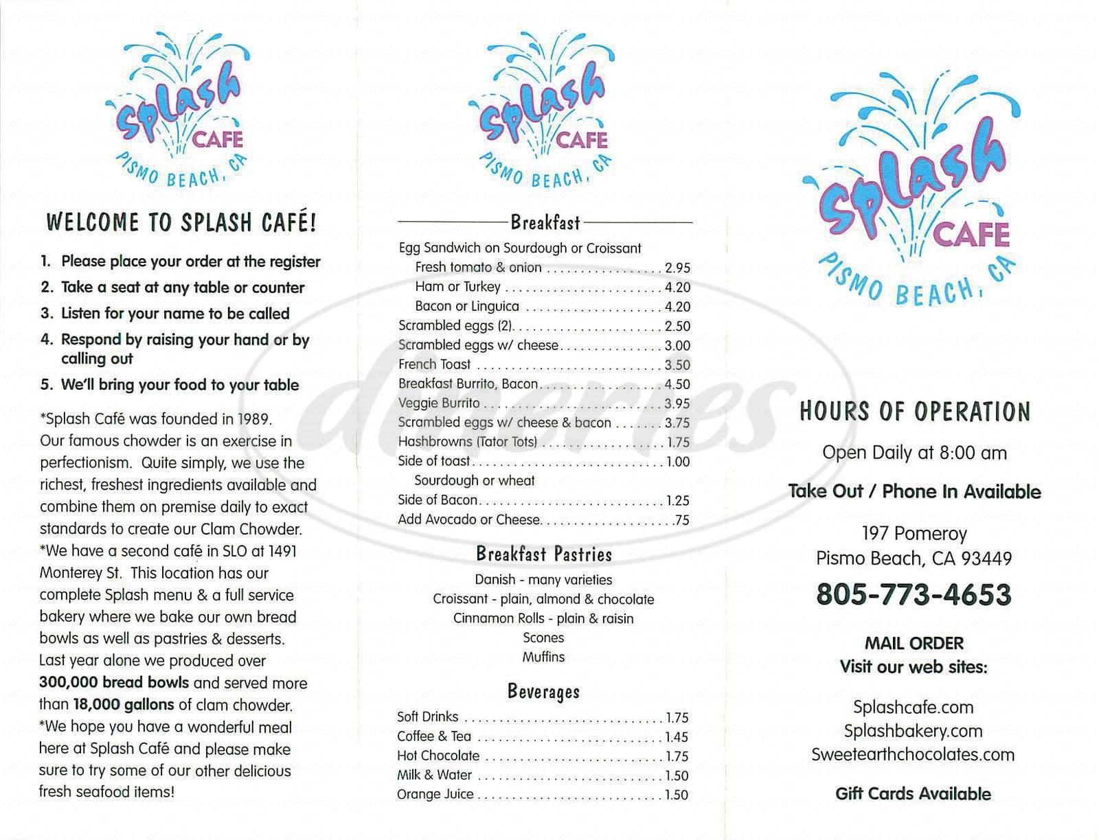 menu for Splash Cafe