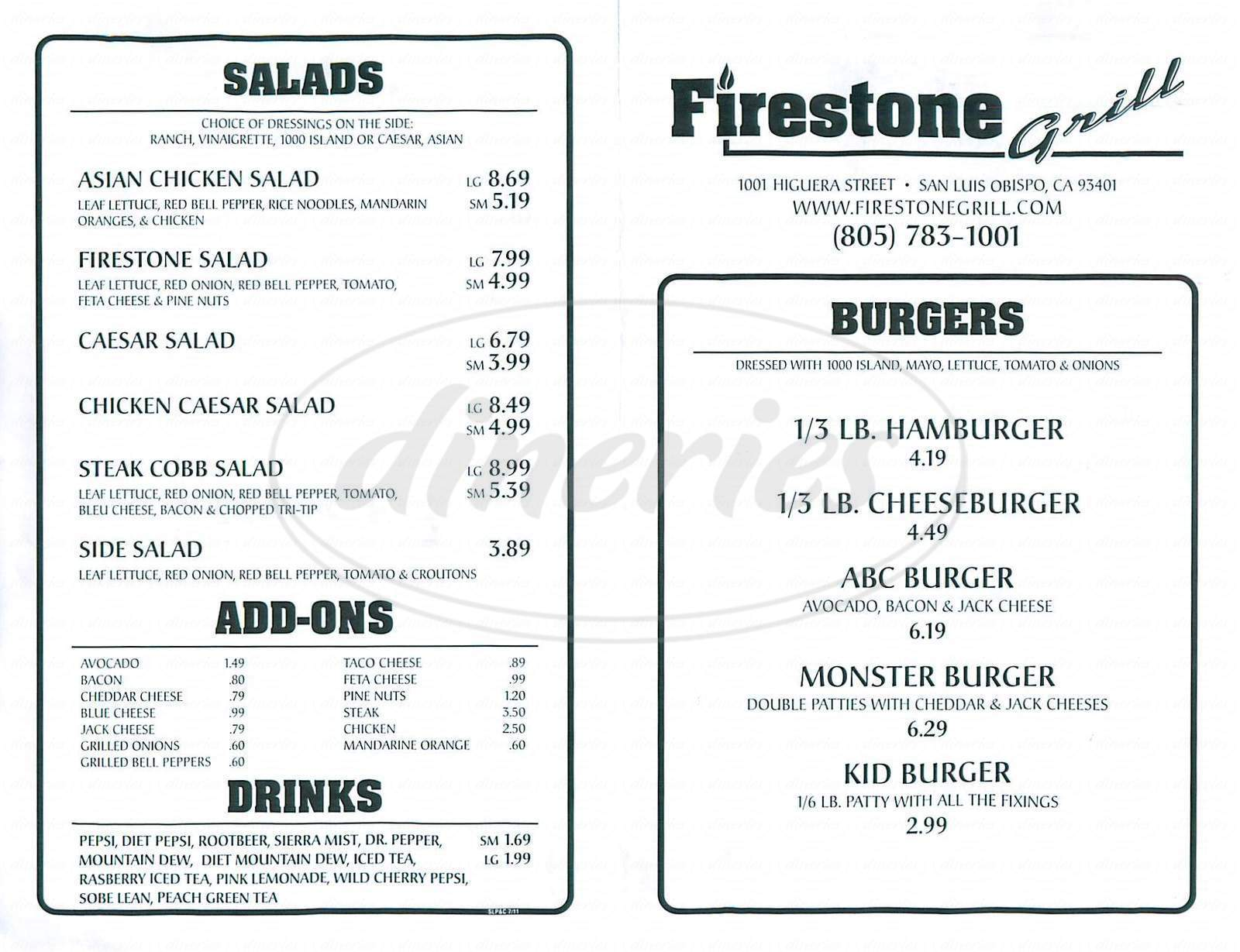 menu for Firestone Grill