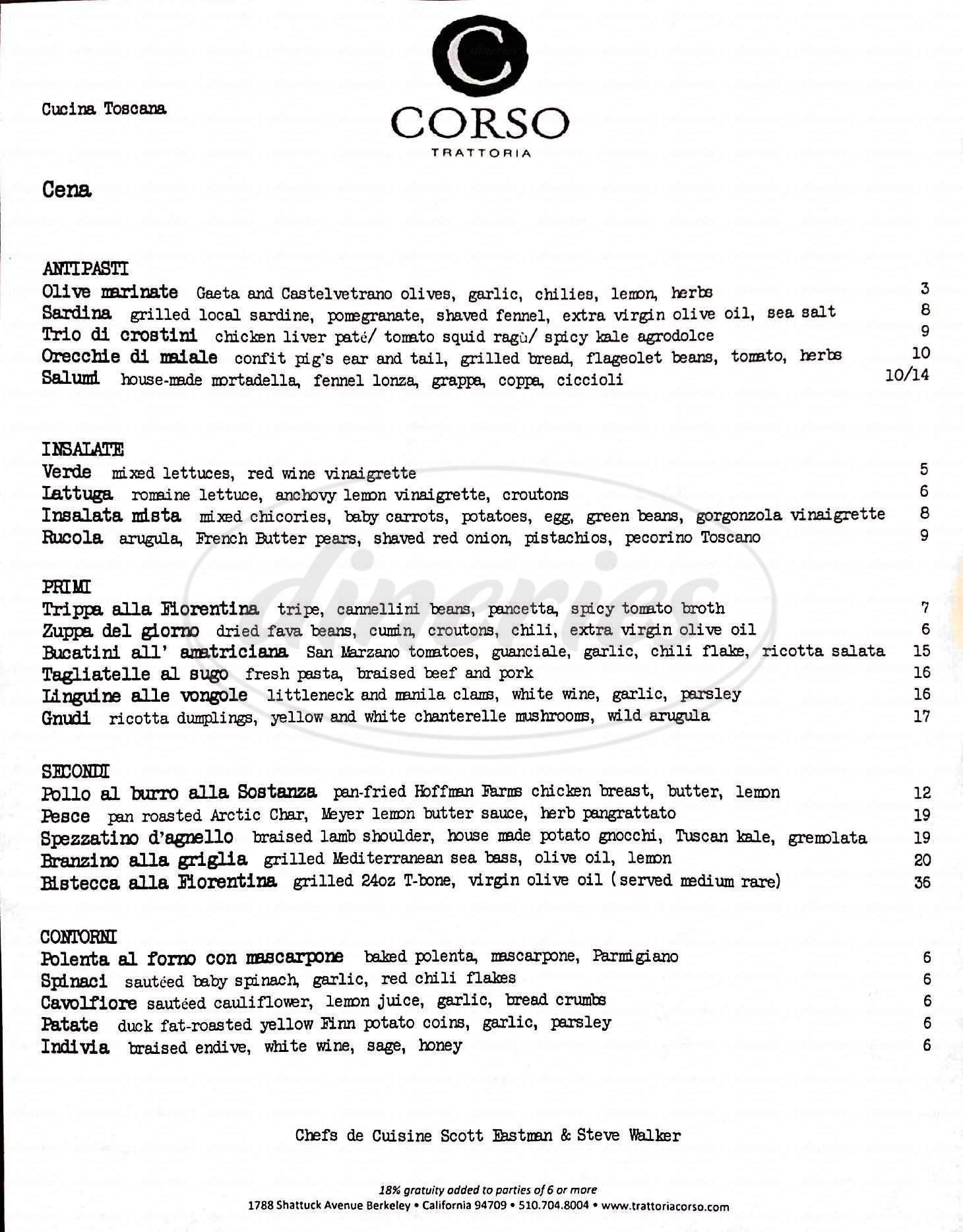menu for Corso Trattoria