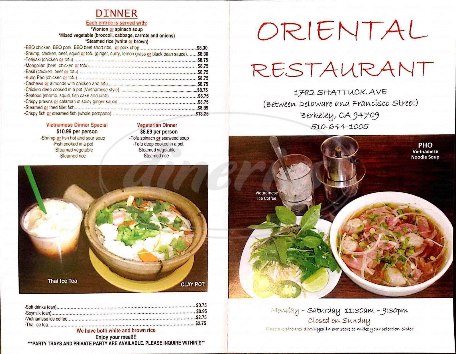 menu for Oriental Restaurant