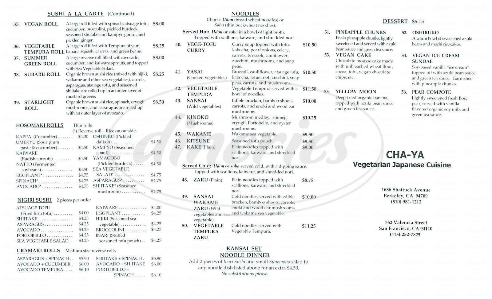 menu for Cha-Ya