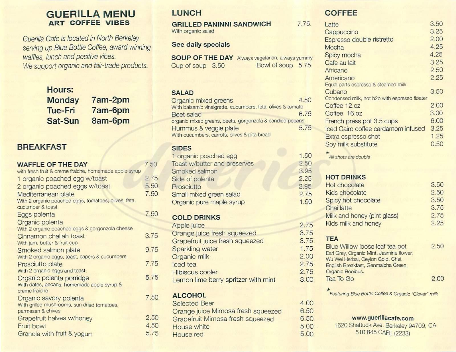 menu for Guerilla Cafe