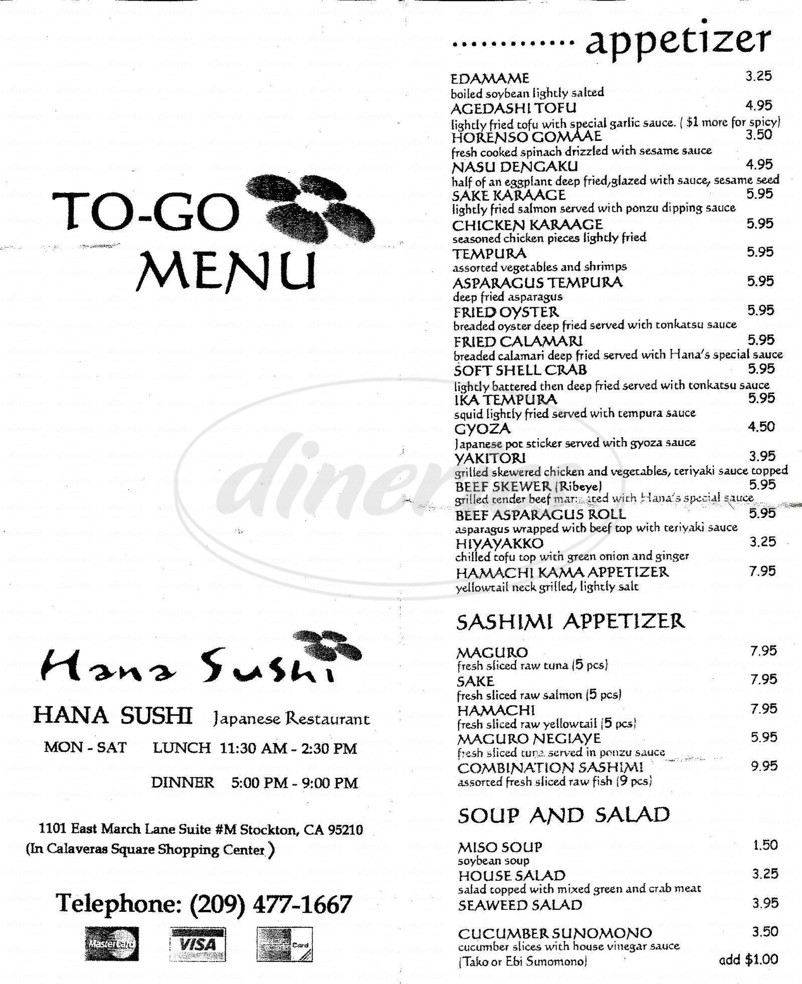 menu for Hana Sushi