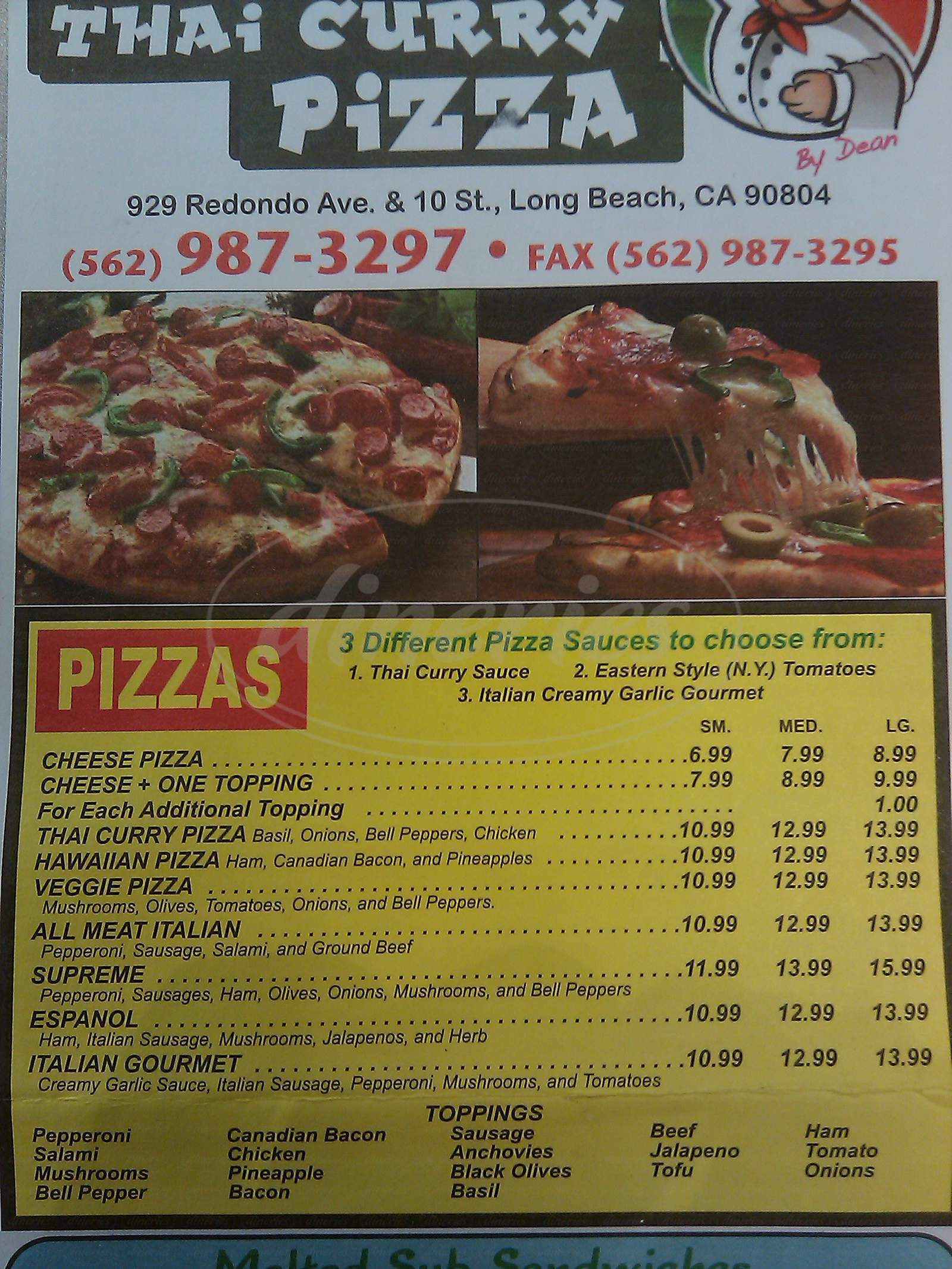 menu for Deans Pizza
