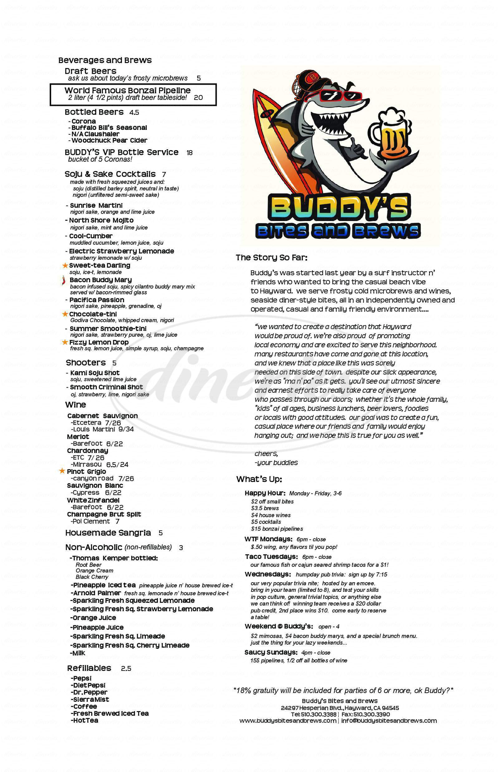 menu for Buddy's Bites and Brews
