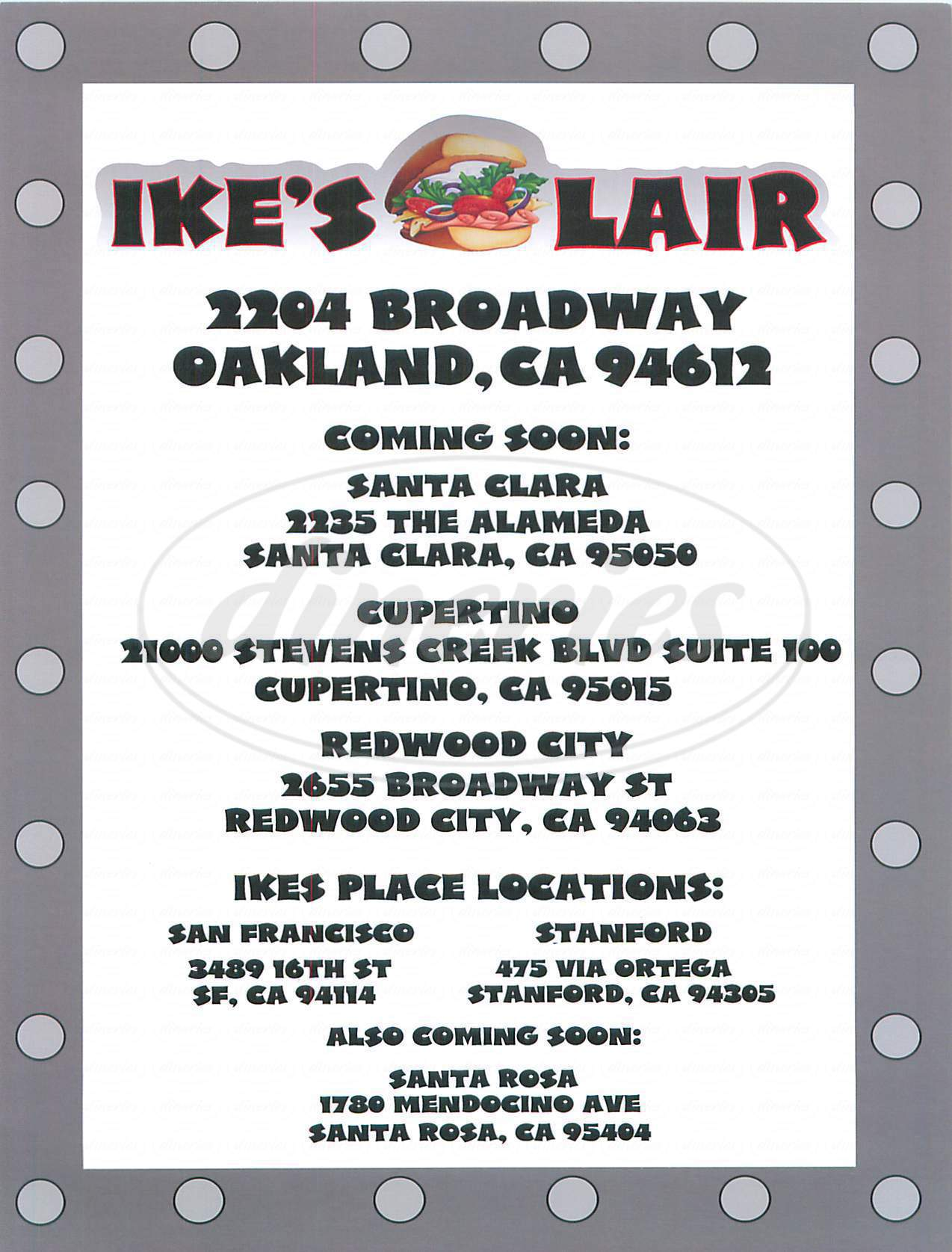 menu for Ike's Lair