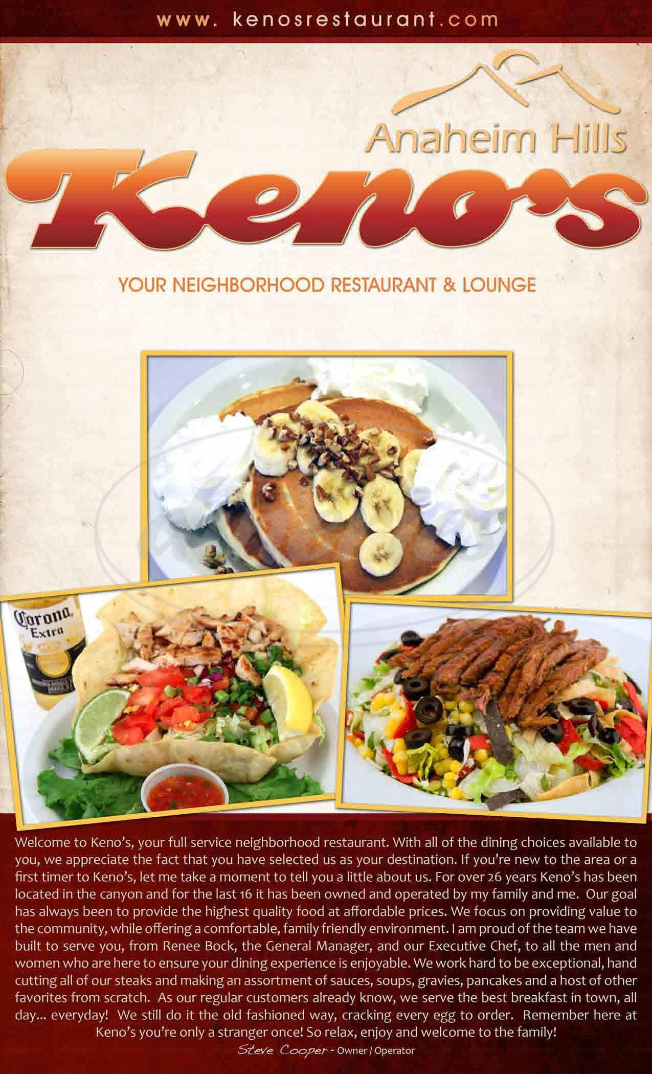 menu for Keno's