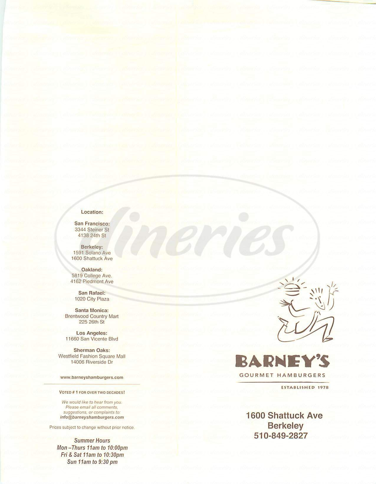 menu for Barney's Gourmet Hamburger