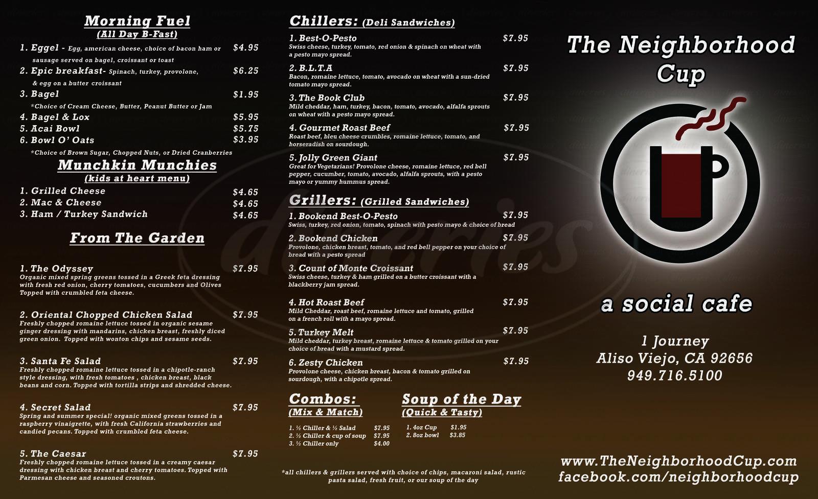 menu for The Neighborhood Cup