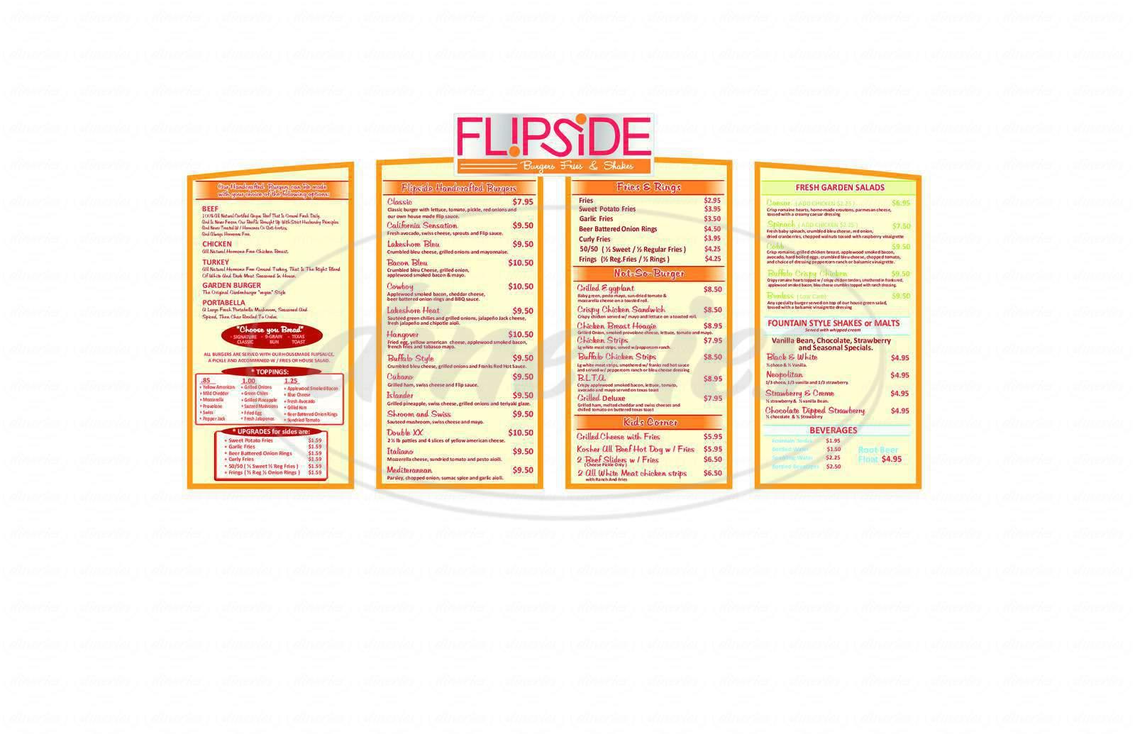 menu for Flipside
