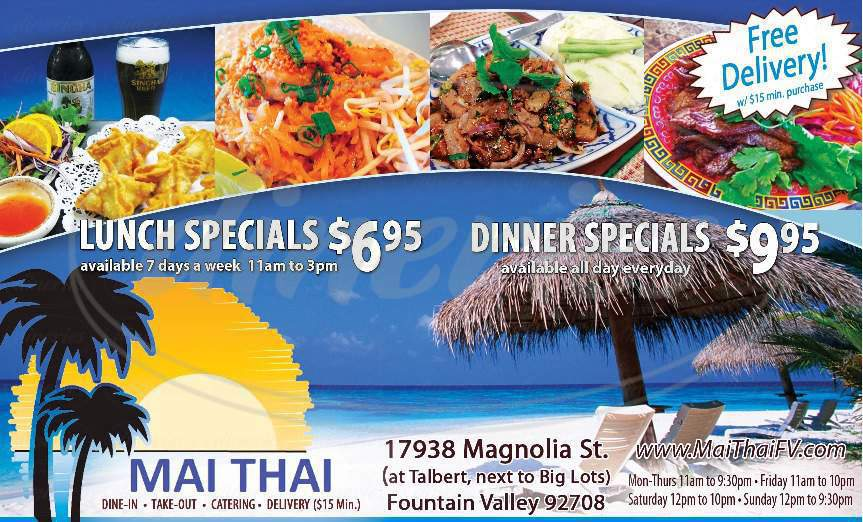 menu for Mai Thai Restaurant