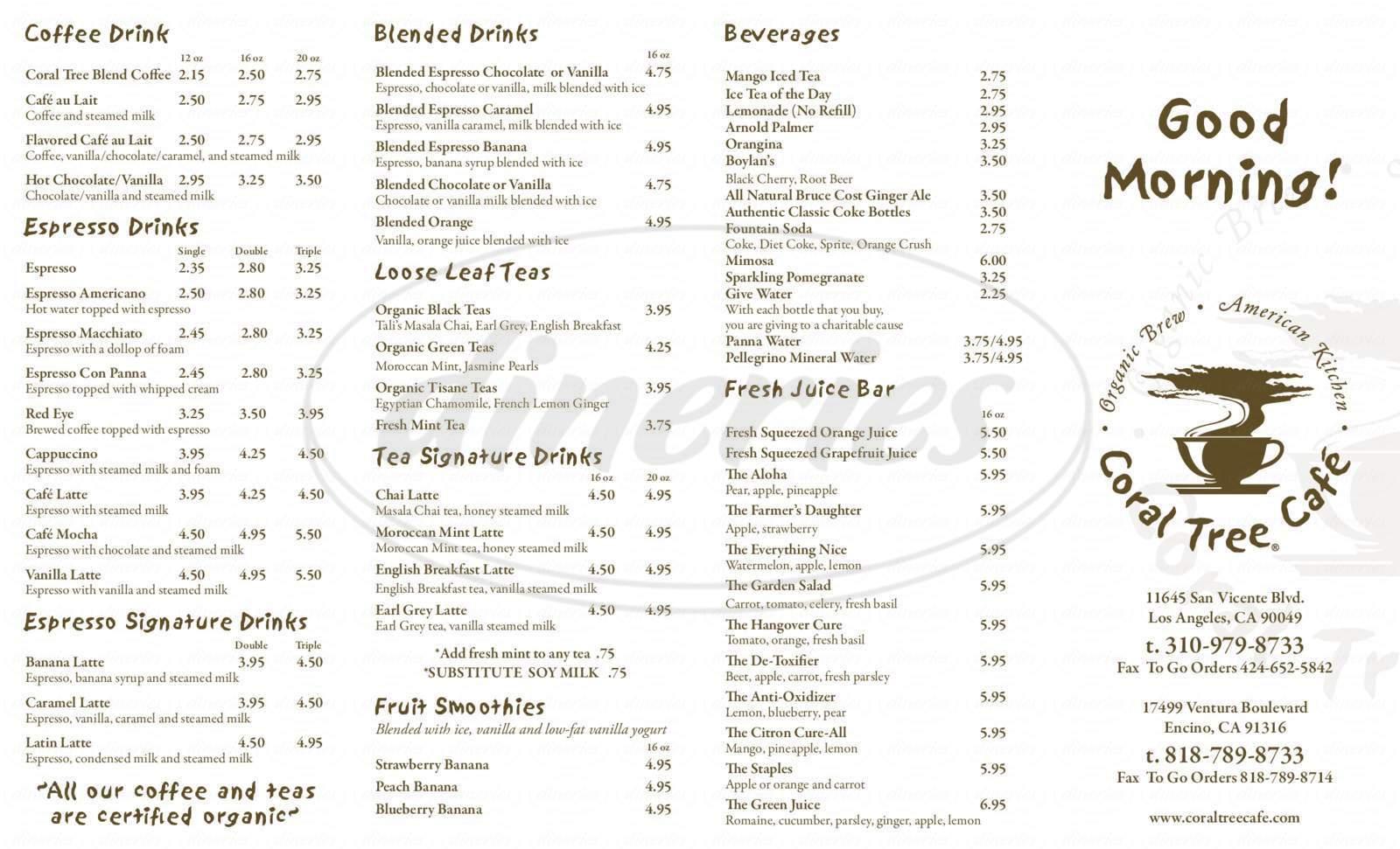 menu for Coral Tree Café