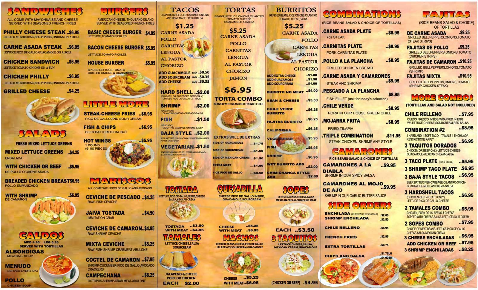menu for Merced's Restaurant
