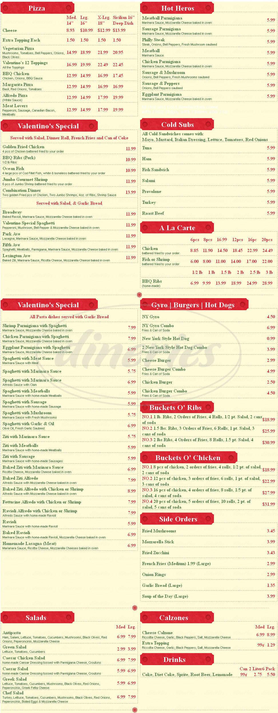 menu for Valentino's New York Pizza