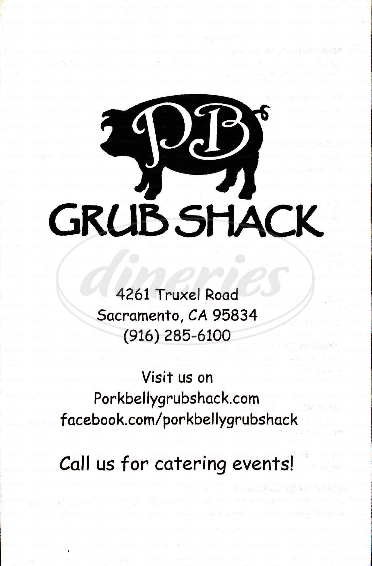 menu for Pork Belly Grub Shack