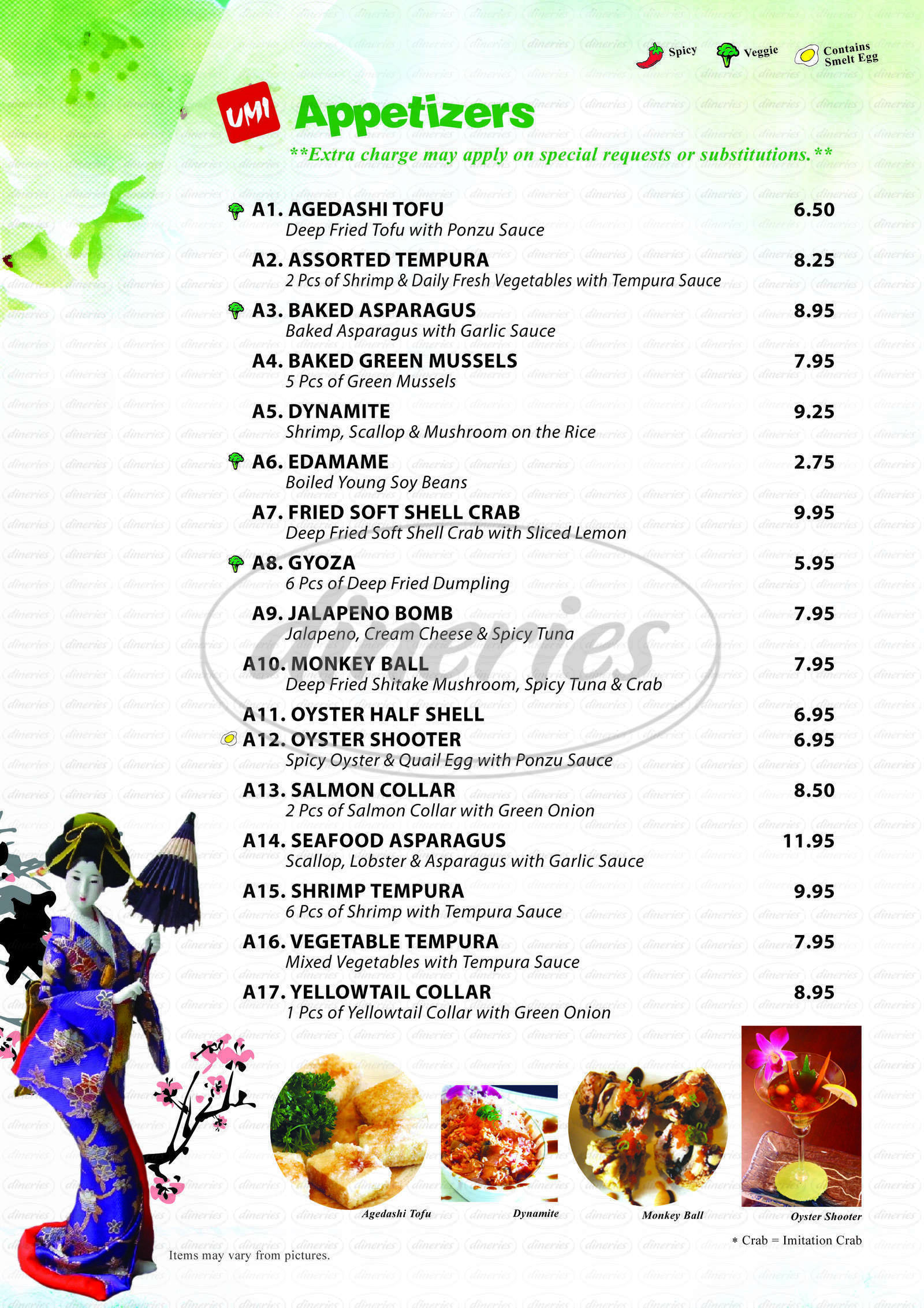 menu for Umi Sushi