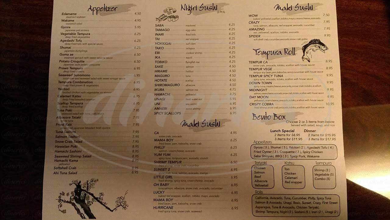 menu for Smile Sushi