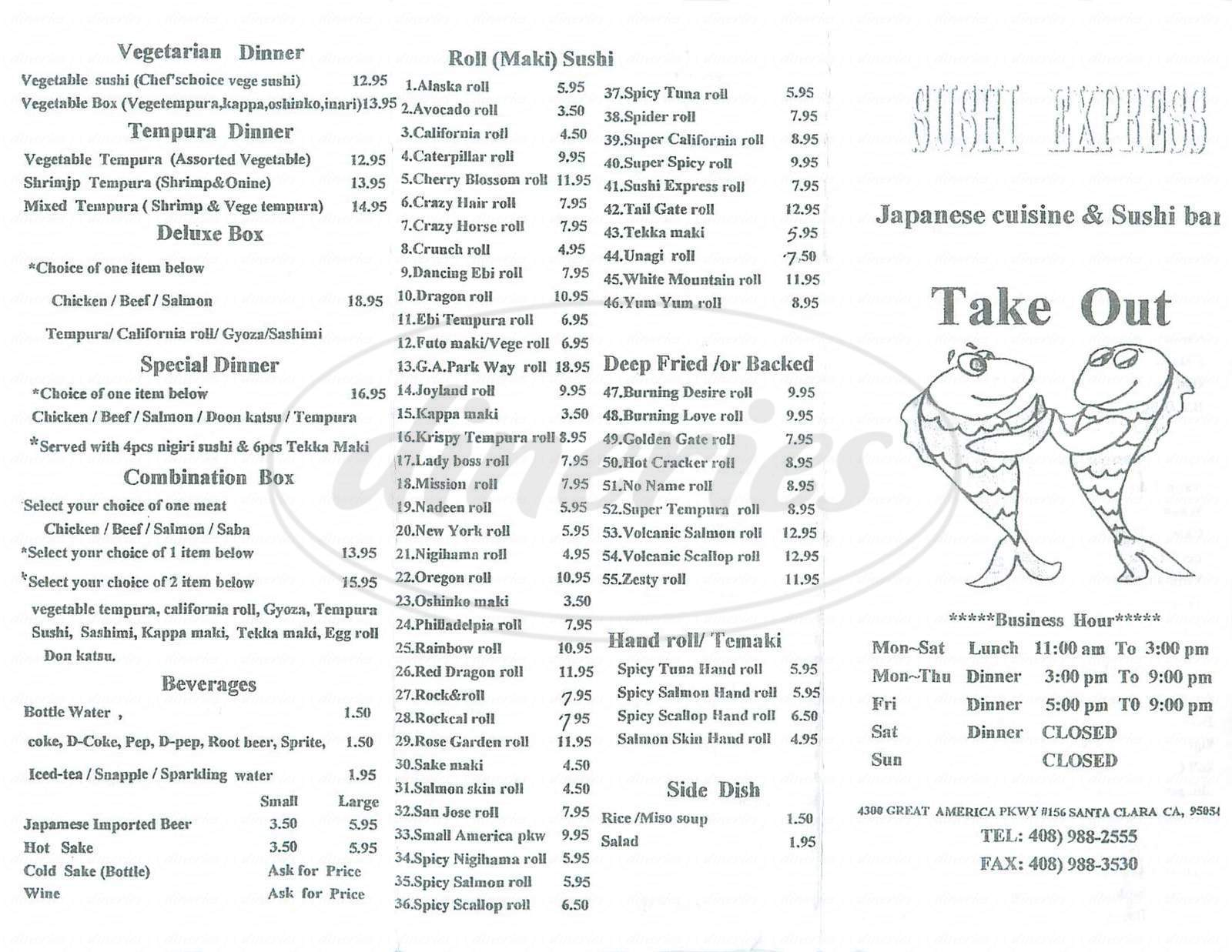 menu for Sushi Express