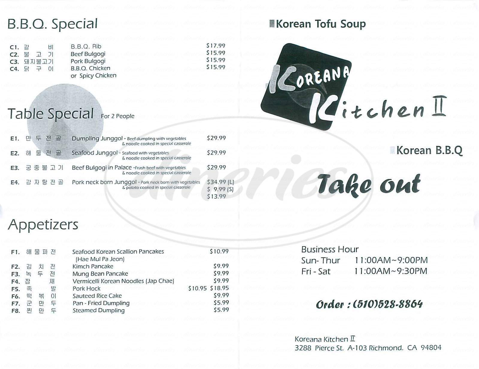 menu for Koreana Kitchen II