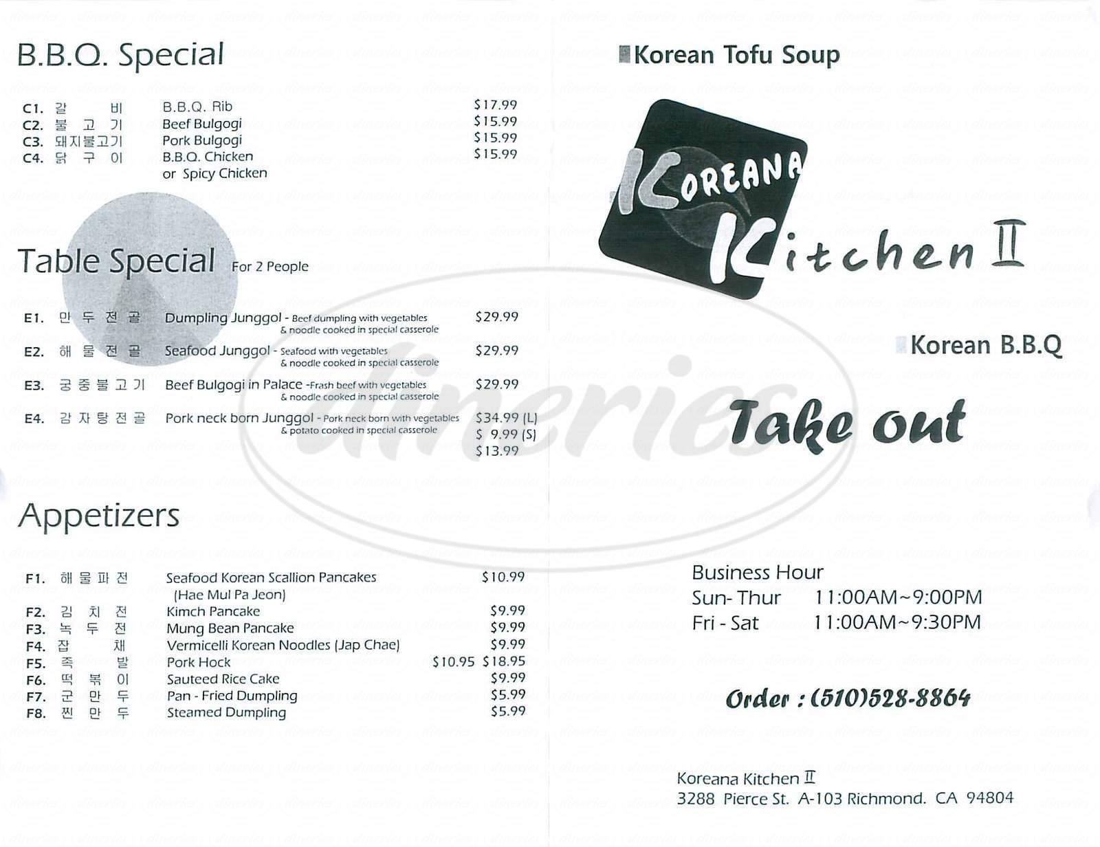 menu for Koreana Kitchen II