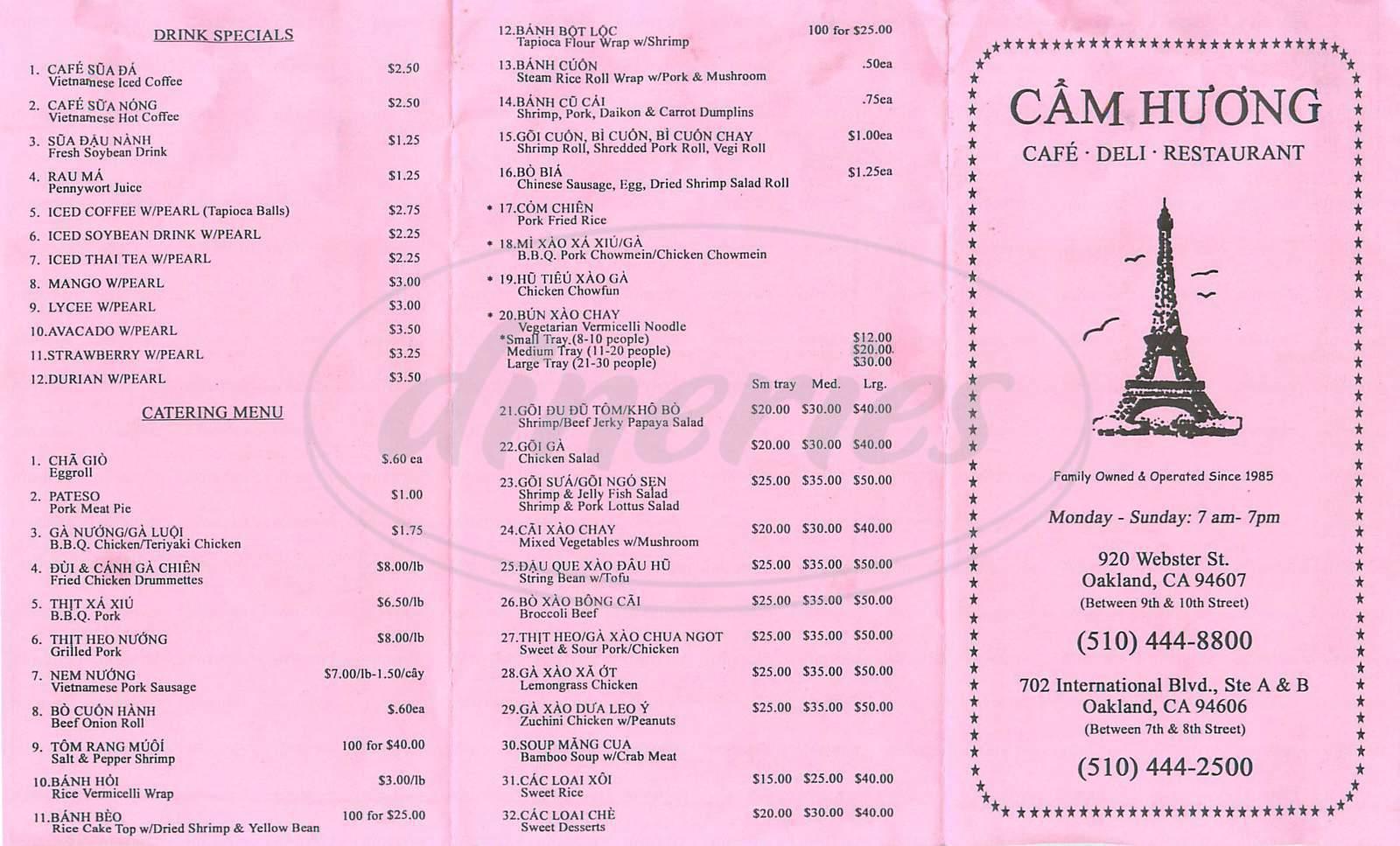 menu for Cam Huong