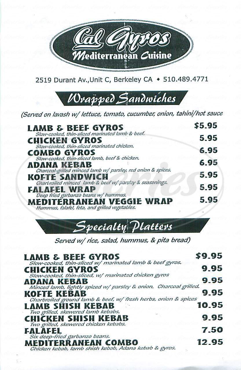 menu for Cal Gyros