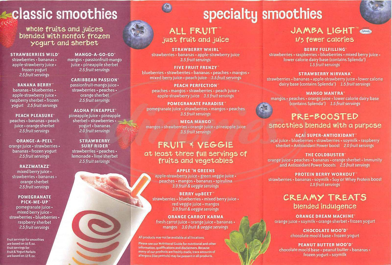 menu for Jamba Juice