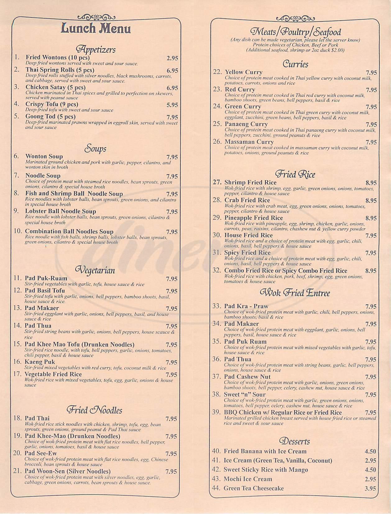 menu for House of Thai