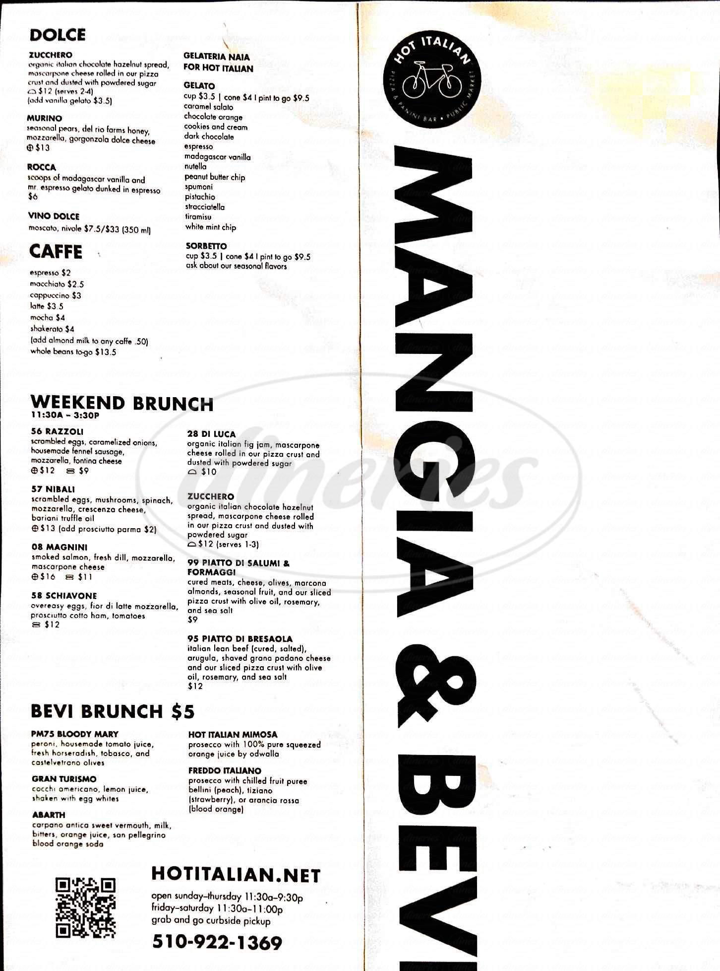 menu for Hot Italian