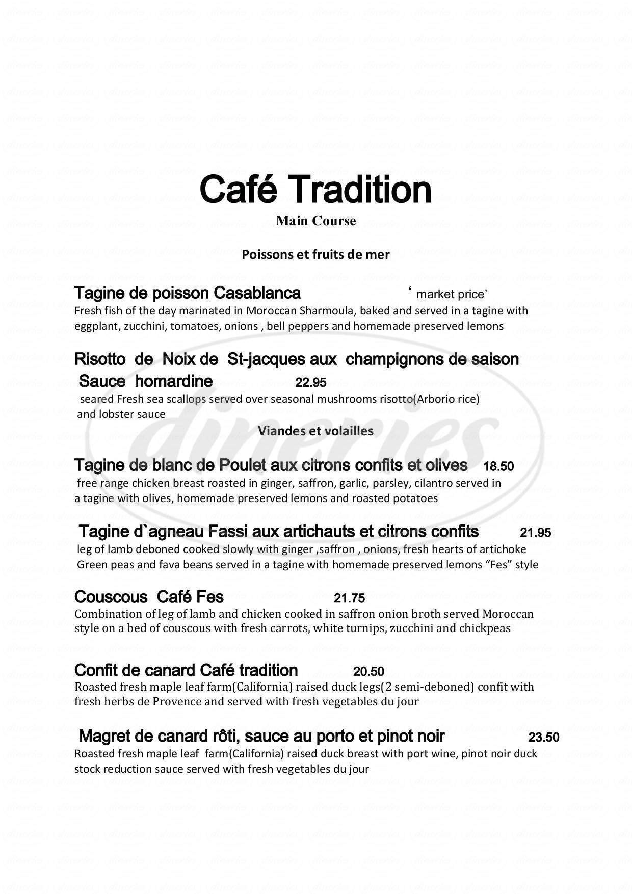 menu for Café Tradition