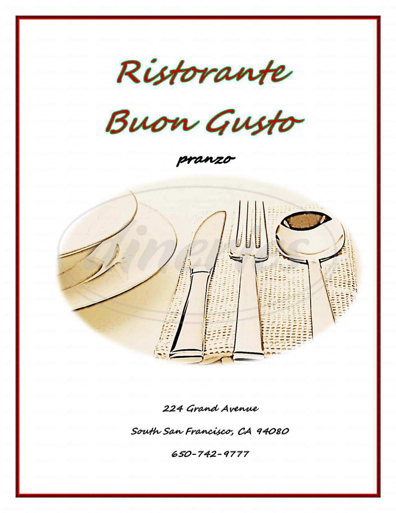 menu for Buon Gusto
