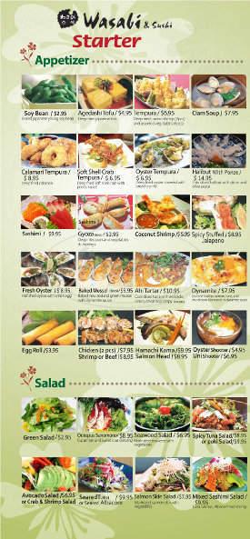 menu for Wasabi & Sushi