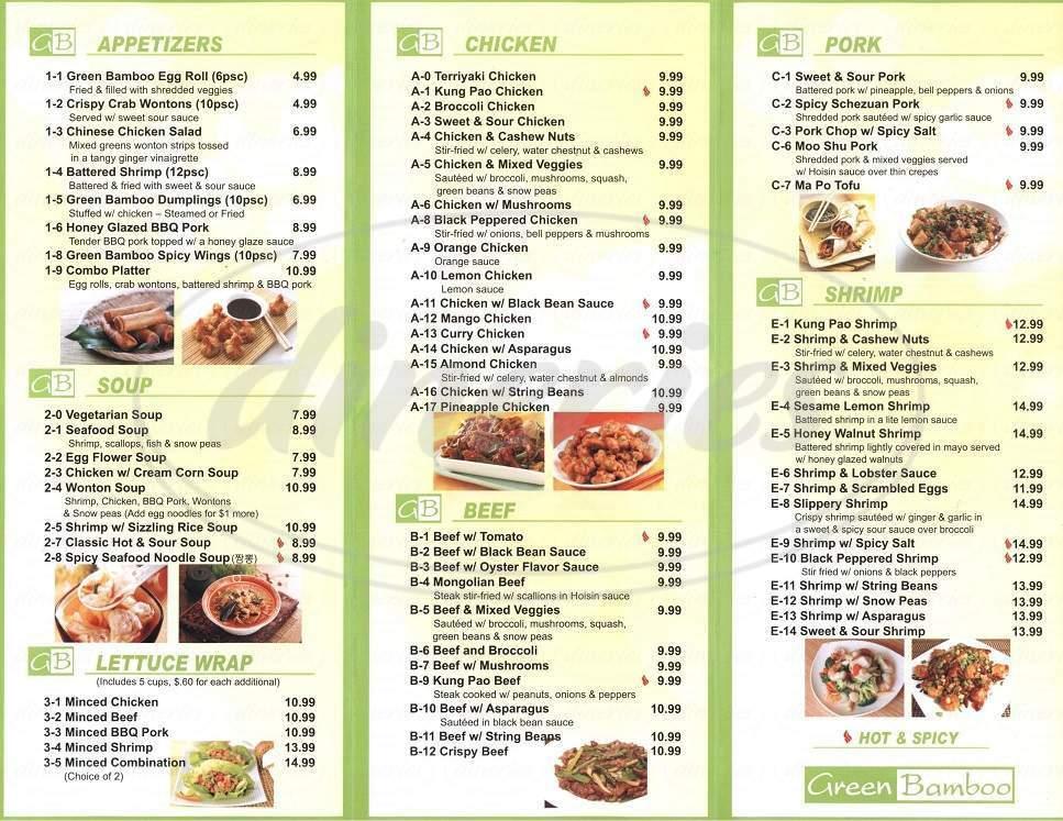 menu for Green Bamboo