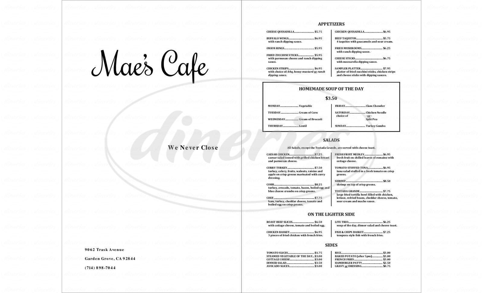 menu for Mae's Café