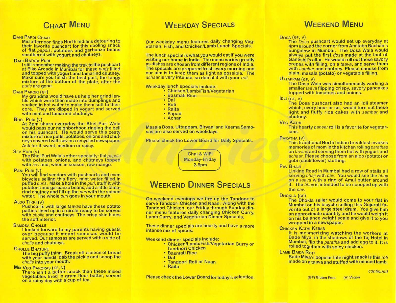 menu for Vik's Chaat